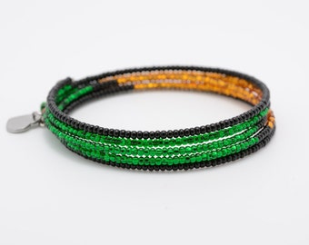 Unique Memory Wire Colour Block Bracelet,One of A Kind Bracelet by SovaJKJewellery,Black, Green and Light Brown Bracelet, Rothko Inspired