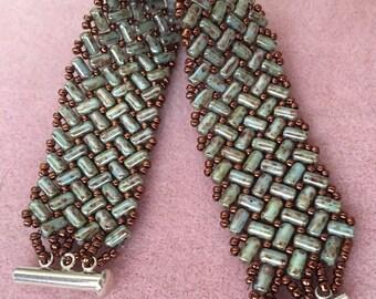 Handmade woven beaded bracelet