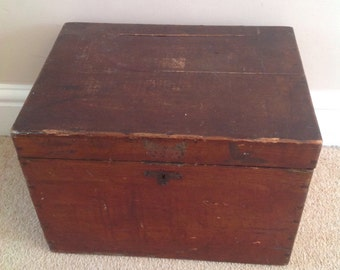 Interesting Vintage Small Wooden Chest / Trunk