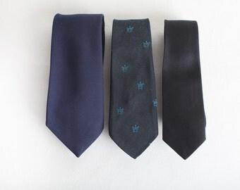 Vintage Blue, Green and Black Ties, Mens Neckwear