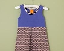 SALE! Girls Dress in Blue & Purple Organic Cotton with Pleat, Summer Dress, Tank Dress in sizes 1, 2t, 3t, 4, 5, 6, 7, 8, Double Dutch Dress