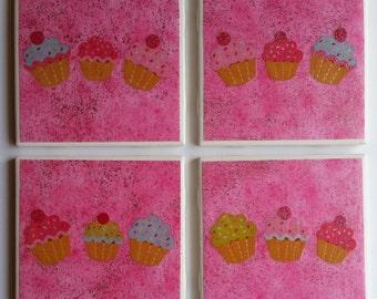 Pink Cupcake Coasters