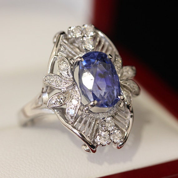 antique white gold sapphire ring by vintagetimessydney