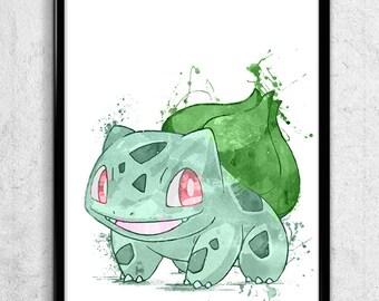 Bulbasaur Pokemon Watercolor print/poster, wall art