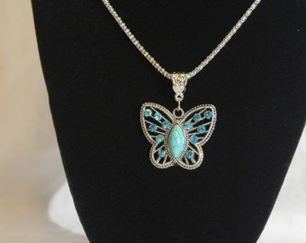 Turquoise Butterfly Necklace, Butterfly Necklace, Turquoise Necklace, Butterfly Pendant, Turquoise Pendant