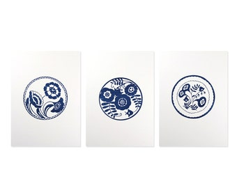 Delft Plate Triptych Gocco Print