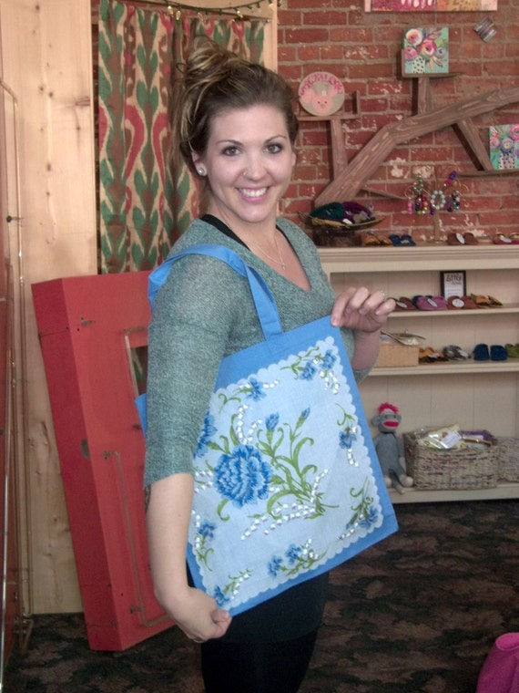 Canvas Tote with Vintage Handkerchief Front Panel - Several Styles