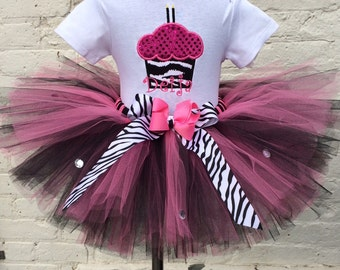 Cupcake Zebra Bling Personalized Hot Pink & Black Tutu Set  and Headband 1 2 3 4 5 3 pc Set~1st-2nd-3rd-4th-5th birthday