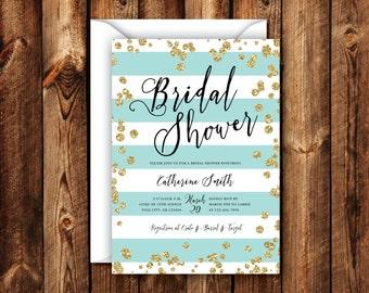Turquoise Stripe Black & Gold Bridal Shower Invitation Elegant Modern Rustic Wedding Shower Invitation 5x7 Digital File or Printed Invites