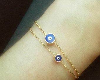 Blue Evil Eye Bracelet, Turkey Nazar Bracelet, Blue Evil Eye Jewelry, Dainty Layering Amulet Jewelry, Talisman Bracelet /  B409