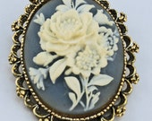 Gerry's Creations Cameo Pin or Pendant, white rose design on soft blue