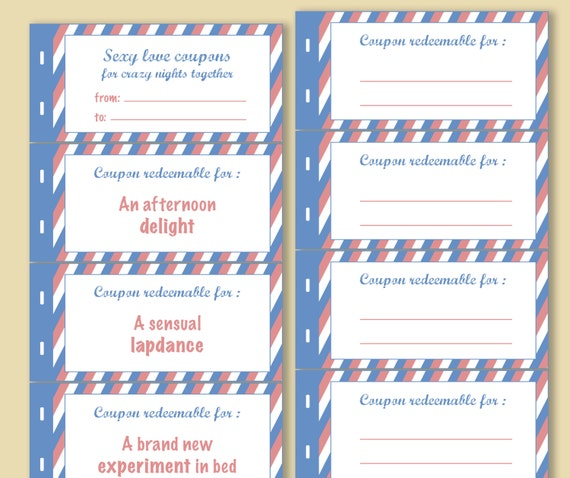 coupon book template for husband - printable naughty love coupons book instant download blank