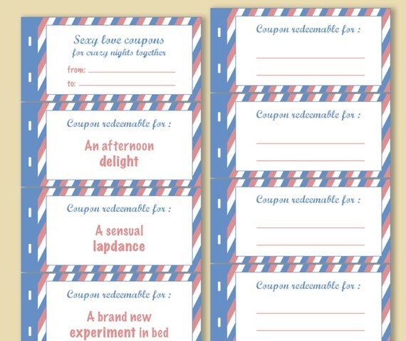 Printable naughty love coupons book instant download blank for Coupon book for husband template