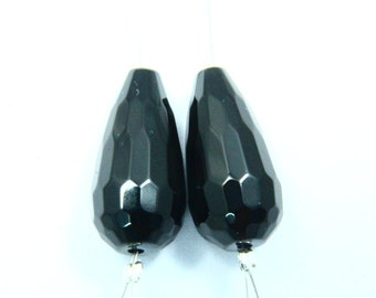 1 Pair Natural Black Onyx Focal Briolette Chalcedony Gemstone Straight Drilled Faceted Tear Shape Size - 10x20mm