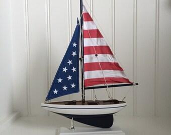 "USA Wooden 17"" Model Sailboat - model ship - model boat, wedding centerpiece, American Flag Pacific Sailer, sailboat decor, boat decor - 059"