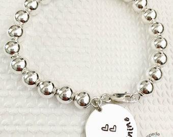 BRACE FOR IT, bracelet, sterling silver, handstamped