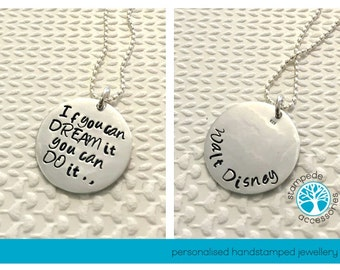 CLOSE TO HEART, necklace, sterling silver, handstamped