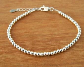 Sterling silver bracelet. Tiny silver bead bracelet. Silver beaded bracelet. Silver bead bracelet. Friendship bracelet. Bead bracelet.T001