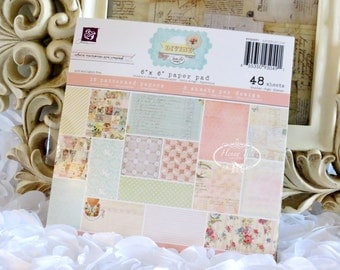 "Prima (950491) DIVINE Collection 6""x6"" Cardstock Paper Pad. Shabby  Scrapbooking papers. Planner Divider."