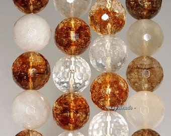 14mm Mix Quartz Gemstone Faceted Round Loose Beads 7.5 inch Half Strand (90191205-22)