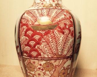 Kusaga Imari Ware Red and Gold Painted Porcelain Vase
