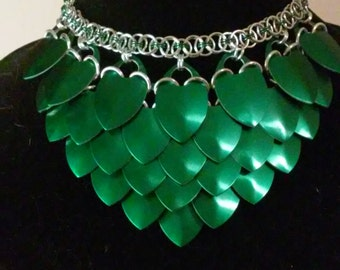 Dragon Empress Scale Maille Choker in Green