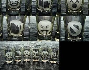 Etched Shot Glasses. Set of 6. Drinking Emojies