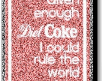 Diet Coke Rules Text Mosaic AMAZING Framed 9X11 Limited Edition Art w/COA