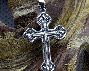 Sterling Silver Christian Fancy Fleur-de-lis Cross Necklace Pendant