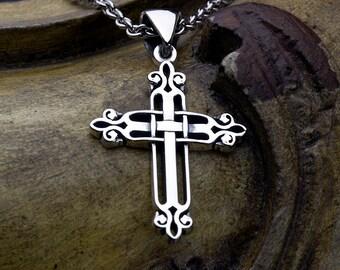 Sterling Silver Woven Fleur-de-lis Christian Cross Necklace Pendant