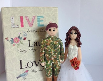 "Wedding Cake Topper - Army groom  -  military bride and groom -  approx 6."" high  -  An everlasting keepsake of your special day."