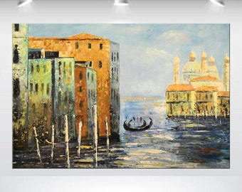 """abstract acrylic city painting 24 x 36"""" blue  landscape seascape modern art deep textured stretched canvas art"""