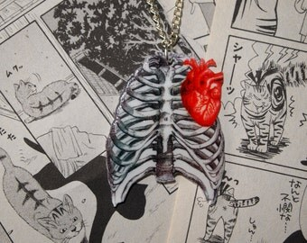 Anatomical Human Rib Cage & Heart Necklace - Anatomy Tattoo Medical Steampunk