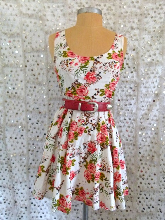 90s Rosy Does It Babydoll Dress; S/M Circle Skirt - Sweetheart dress