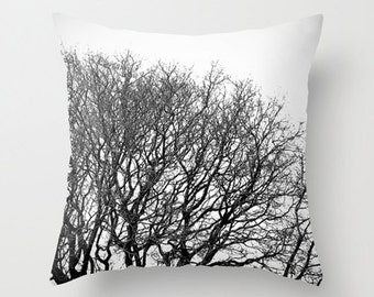 "Tree pillow, tree cushion, black and white, minimalist, throw pillow, scatter cushion, winter, photography, unique, 14"", 16"", 18"", 20"""