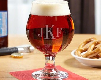 Monogrammed Snifter Beer Glass with Up to 3 Initials - Great for Dad Brother & Boyfriend Beer Lovers - Engraved Just for You