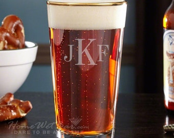 Gold Rimmed Personalized Pint Glass - Midas Glasses Featuring Classic Monogram - Great Gifts for Men and Women Beer Lovers - Customized Gift