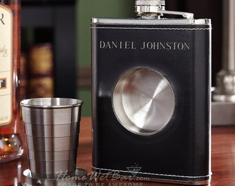 Personalized Dual Liquor Flask with Shot Glass Set - Unique Leather Flask Set