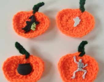 Crocheted Pumpkin Magnets, Set of 4 Magnets, Pumpkin Magnets, Magnets with Witch Skeleton Kettle, Crocheted Magnets, Crochet Orange Pumpkin