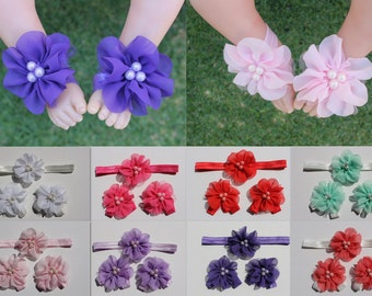 Baby Girl Barefoot Sandals Foot Flower Shoes & Baby Headband Handmade Free Postage