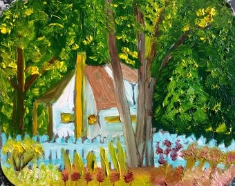 """House in the Country, 4.5"""" x 5.5"""", Original Fine Art Oil Painting"""