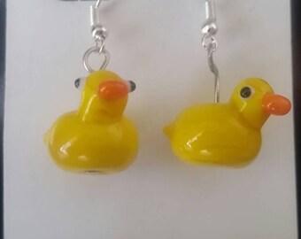 Glass rubber ducky earrings