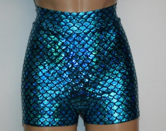 Mermaid 15 Colors Booty Shorts High Waisted Metallic Hologram Fish Scale Shiny Stretch Girls Women Costume Custom Rave Roller Derby Cosplay