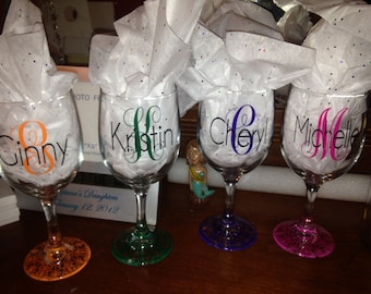 Personalized wine glass. Available in 10 oz Shatterproof, 12 oz. Glass, 16 oz. Shatterproof, 18 oz. Glass or 20 oz. Shatterproof