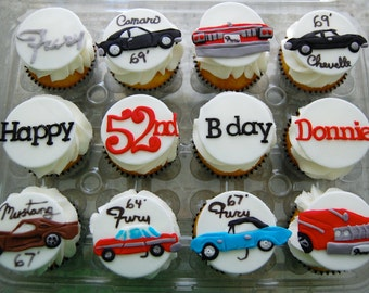 Classic Cars Cupcake Toppers (100% Edible)