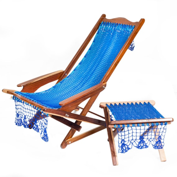 Mexican Rocking Hammock Deck Chair with resting foot stall: colour ...