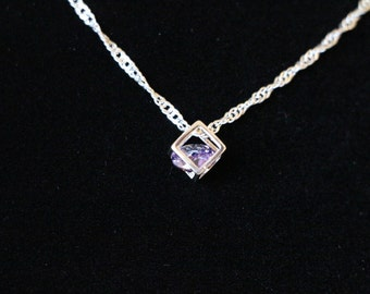 "Geometric Swarovski Zircon Purple Crystal 925 Sterling Silver Pendant with 18"" Necklace"