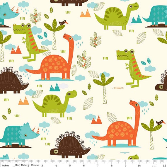 Dinosaur Fabric Flannel Riley Blake Boys Fabric Dinosaur