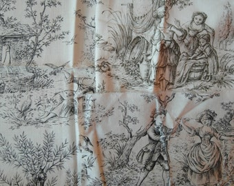 C1940's French Toile de Jouy Vintage Fabric Pieces