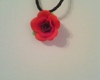 Gothic Rose leather necklace